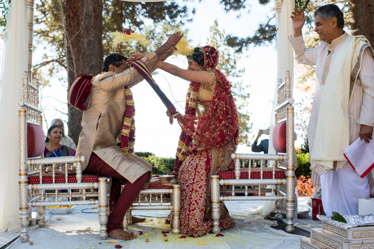 Lake Tahoe Indian wedding bride and groom throw rice