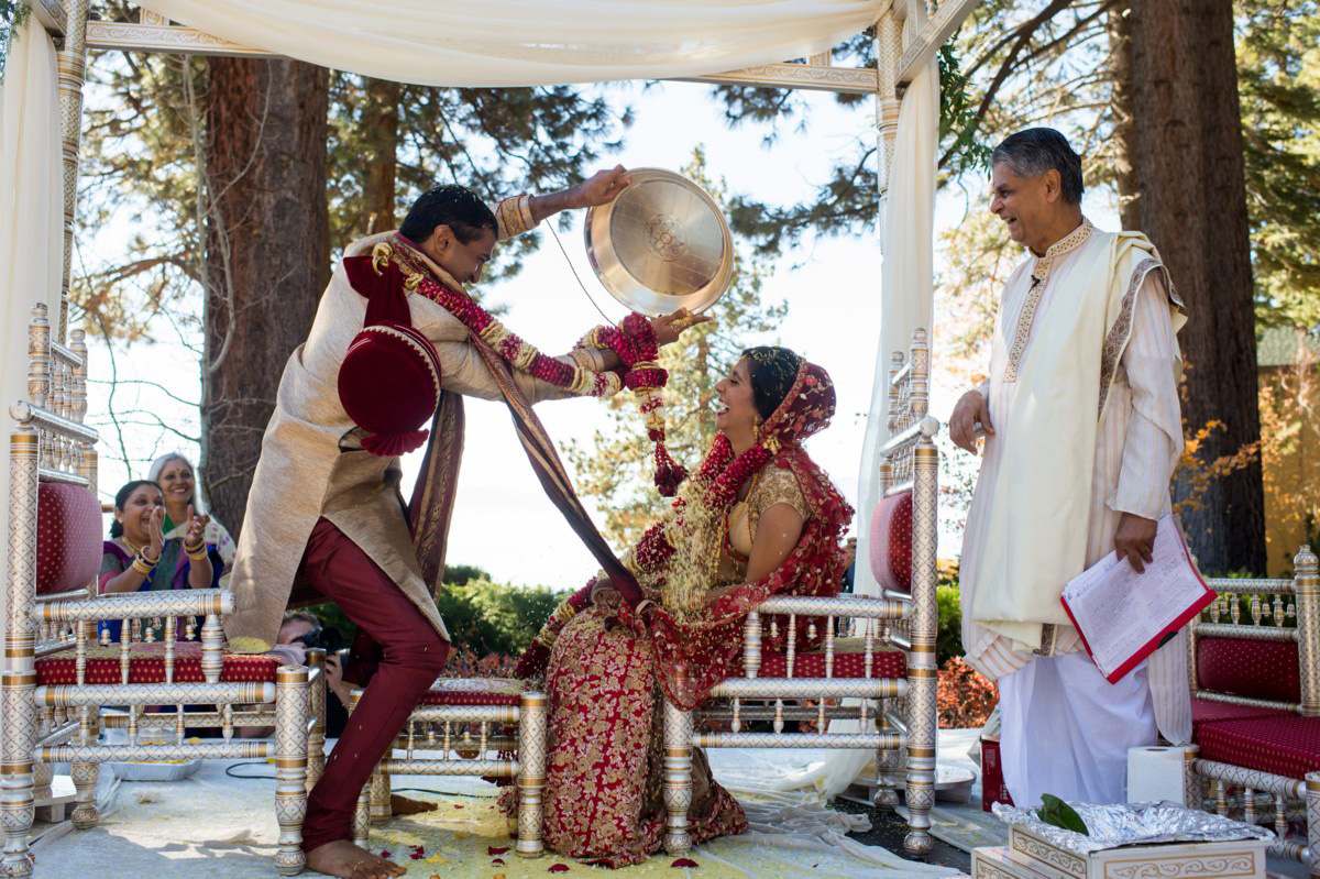 Lake Tahoe Indian wedding groom dumps rice on bride