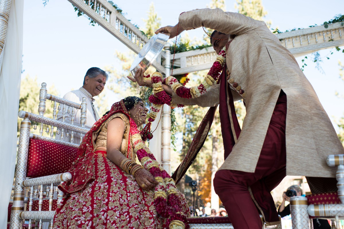 Lake Tahoe Indian wedding groom dumps more rice on bride