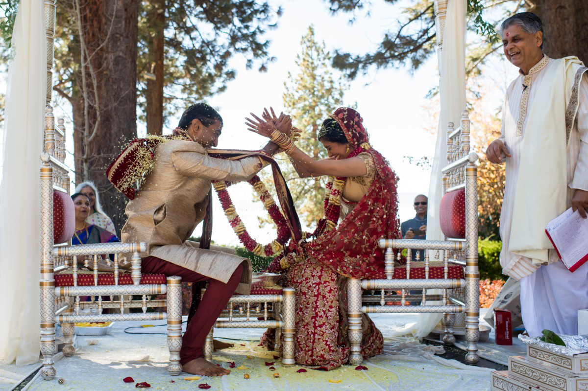 Lake Tahoe Indian wedding couple throwing rice