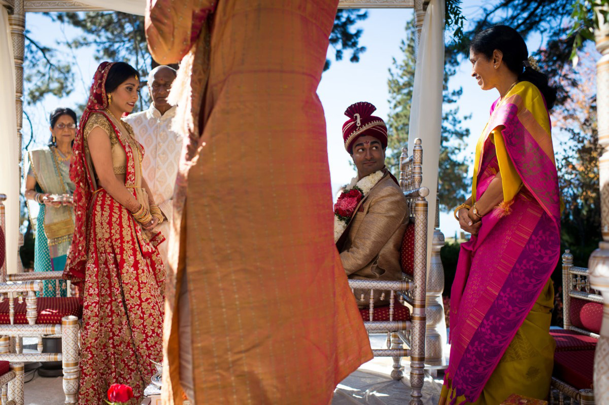 Lake Tahoe Indian wedding bride arrives on mandap
