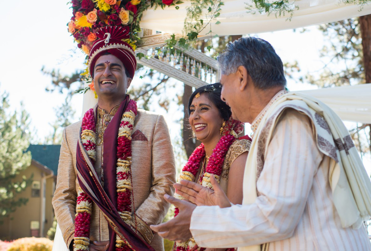 Lake Tahoe Indian wedding bride and groom with Hindu priest