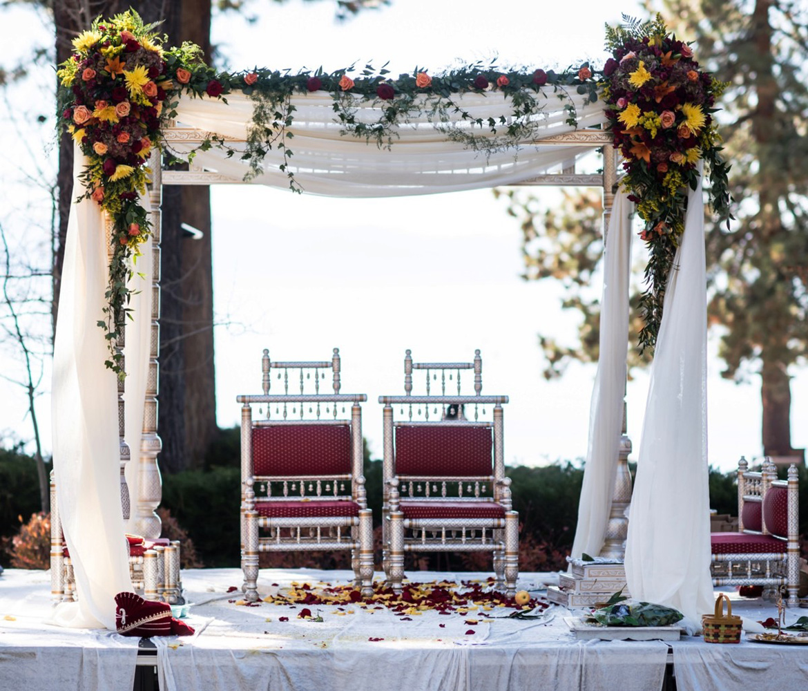 Lake Tahoe Indian wedding mandap