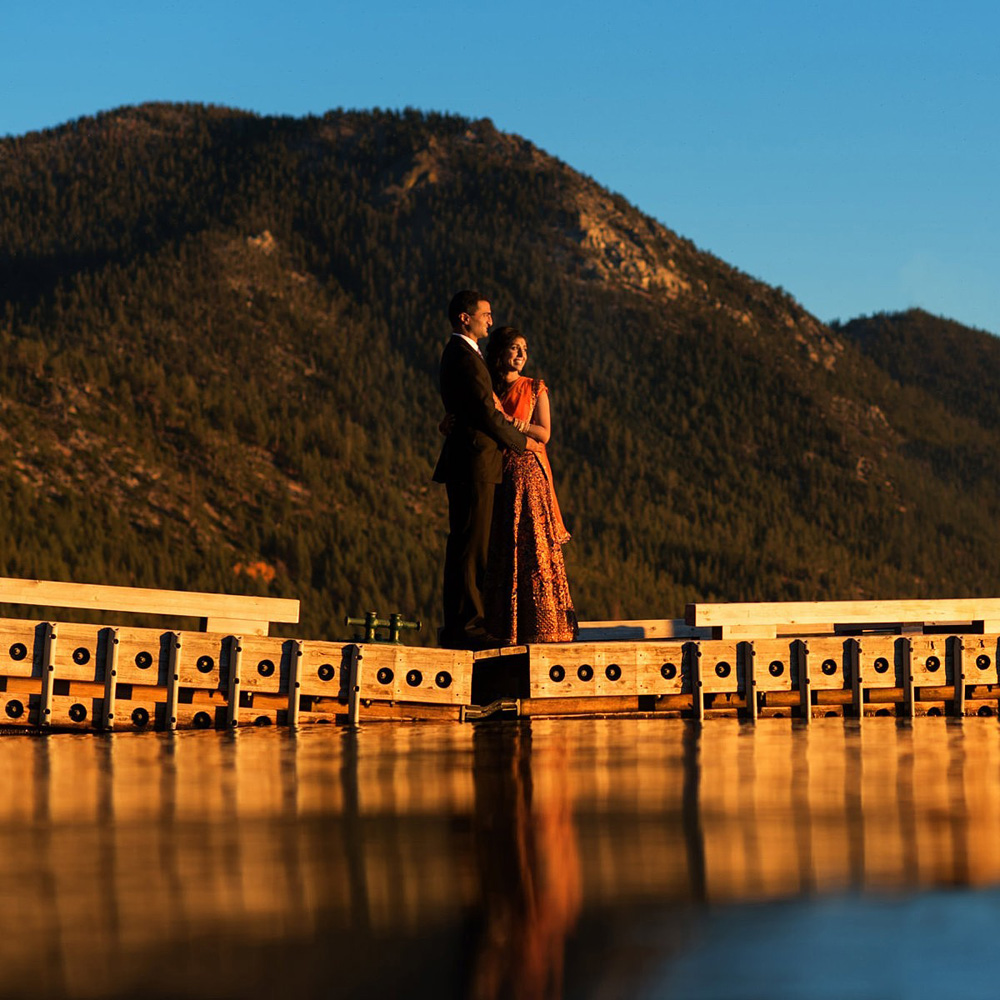 Lake Tahoe Indian wedding couple Hyatt Regency mountains