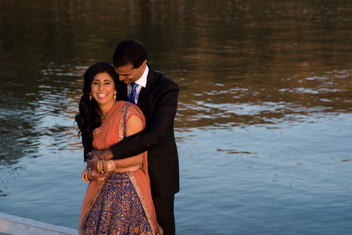 Indian wedding couple by Lake Tahoe
