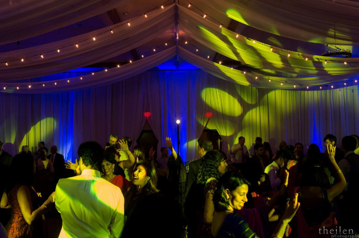 Lake Tahoe Indian wedding dancing lighting decor