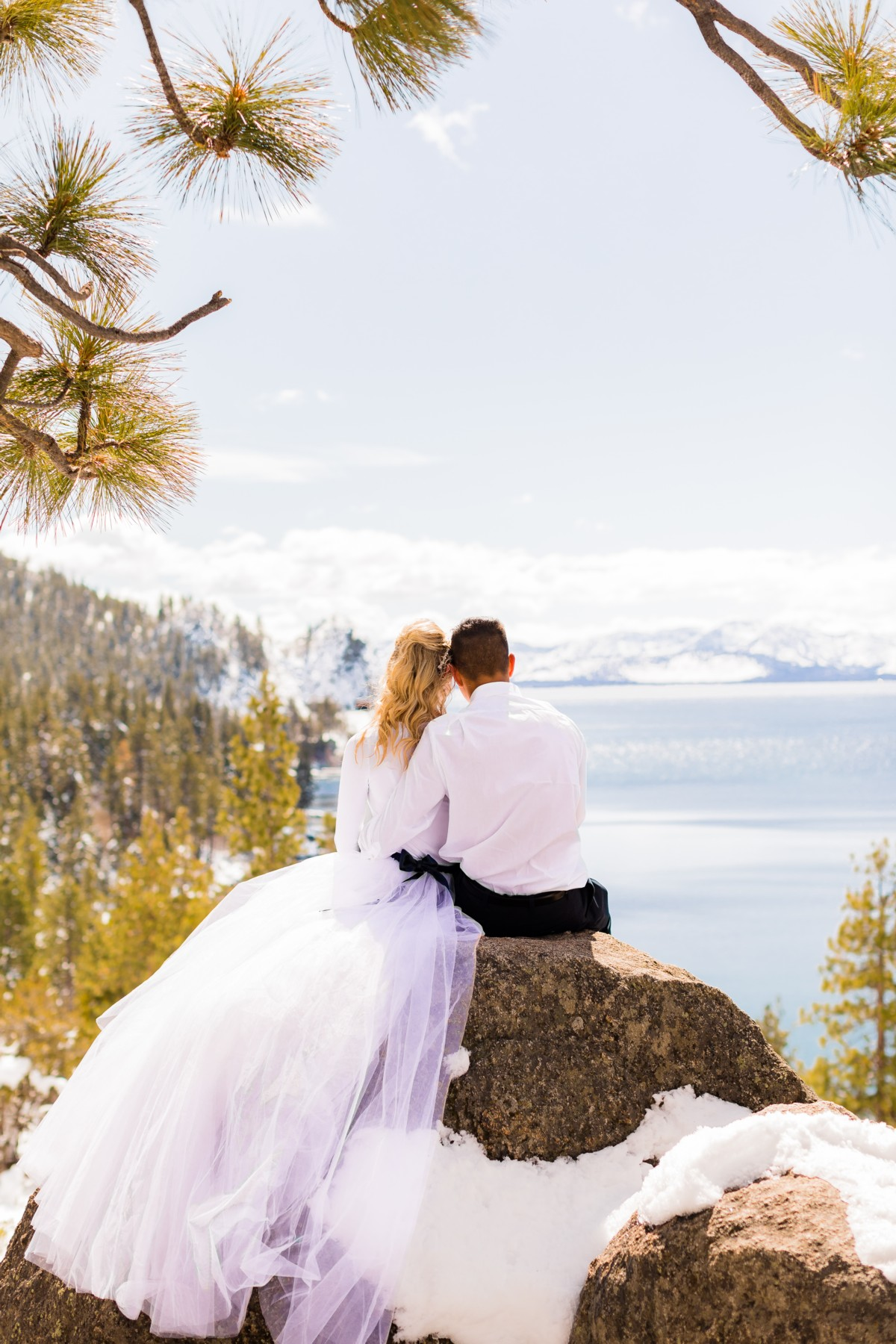 B&B Photography Lake Tahoe wedding - couple looking at Lake