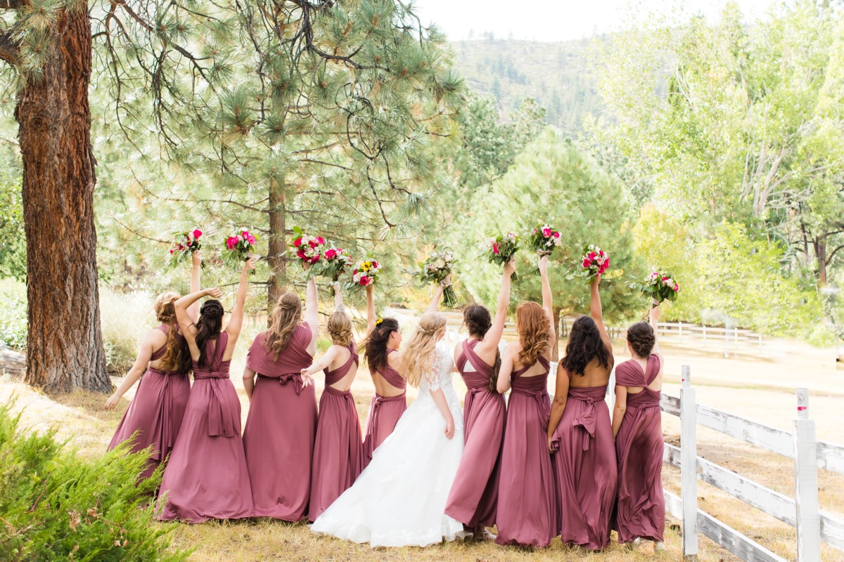 B&B Photography Lake Tahoe wedding - bride and bridesmaids in forest