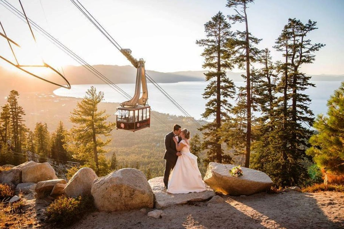 Beau & Arrow Event Co. - Lake Tahoe Wedding Planner - couple at Heavenly at sunset