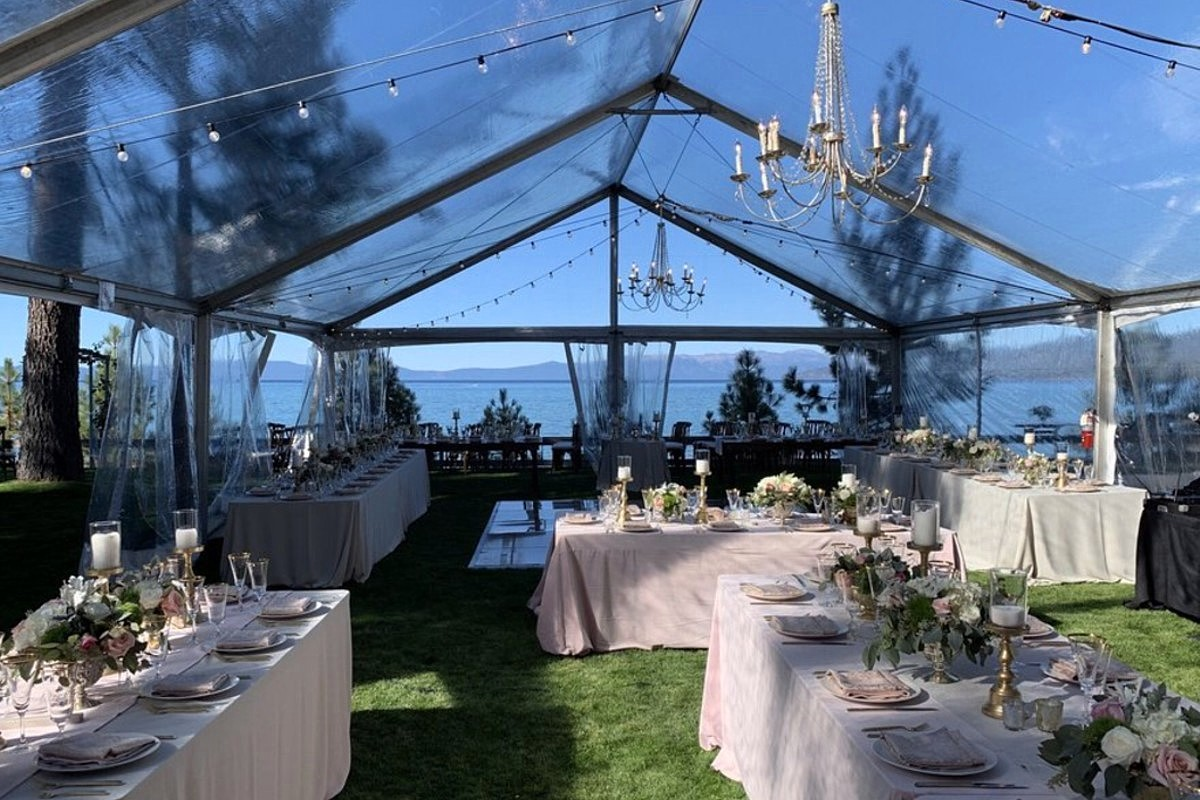 Beau & Arrow Event Co. - Lake Tahoe Wedding Planner - clear tent with lighting