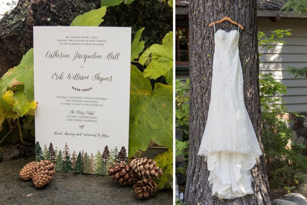 Lake Tahoe wedding Invitation & Dress