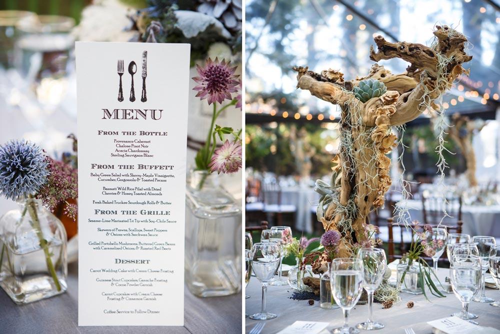 Lake Tahoe wedding Menu and Centerpiece
