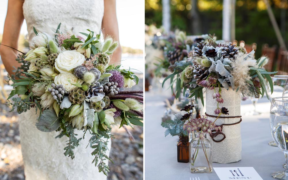 Lake Tahoe wedding Bouquet and Centerpiece