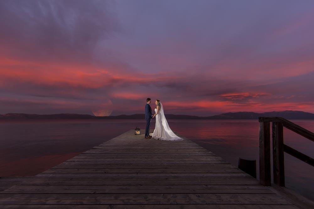 Lake Tahoe wedding couple on pier