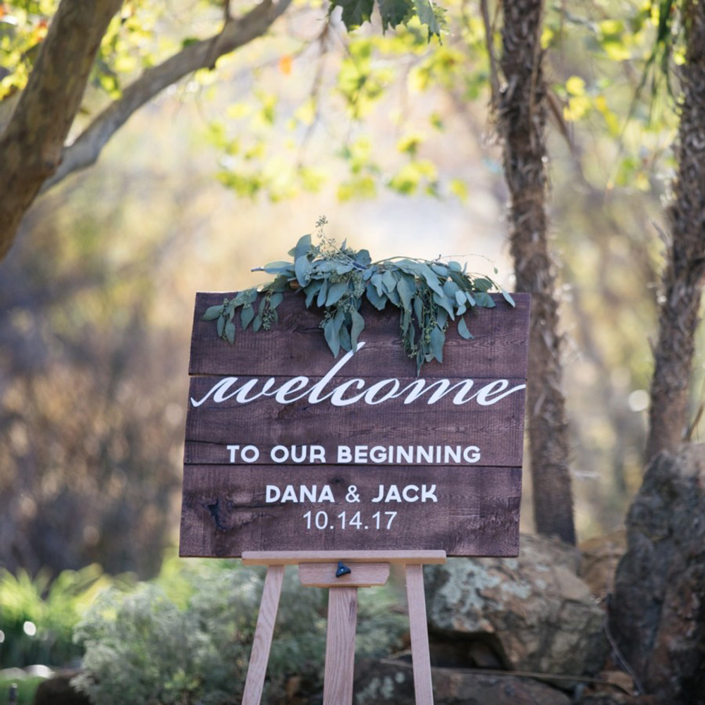 welcome sign real wedding Tahoe Engaged