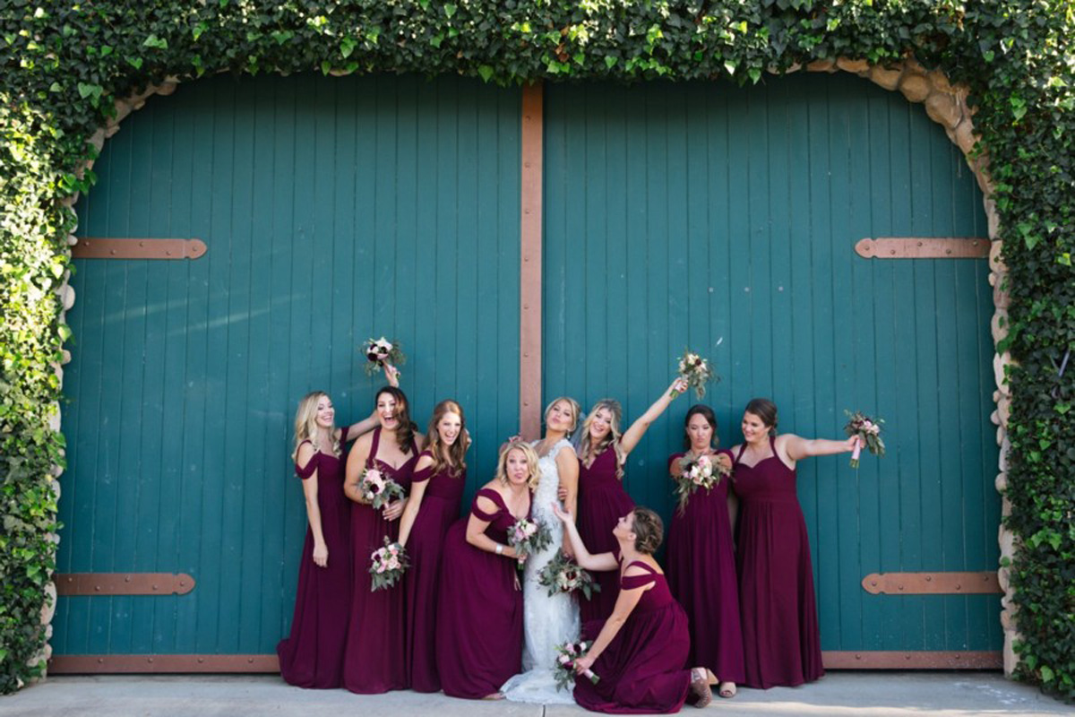 bridal party silly real wedding Tahoe Engaged