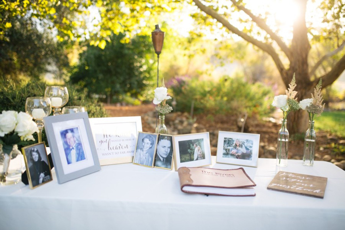 guest book table real wedding Tahoe Engaged