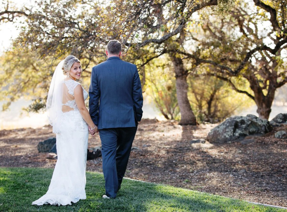 couple walking real wedding Tahoe Engaged