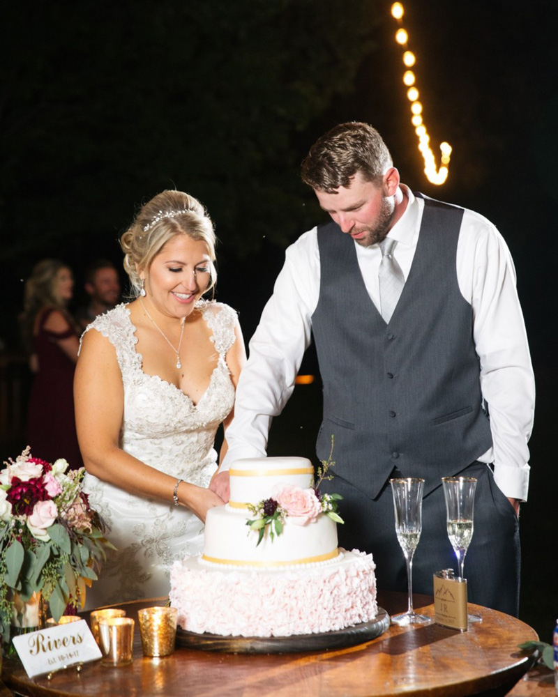 cake cutting real wedding Tahoe Engaged