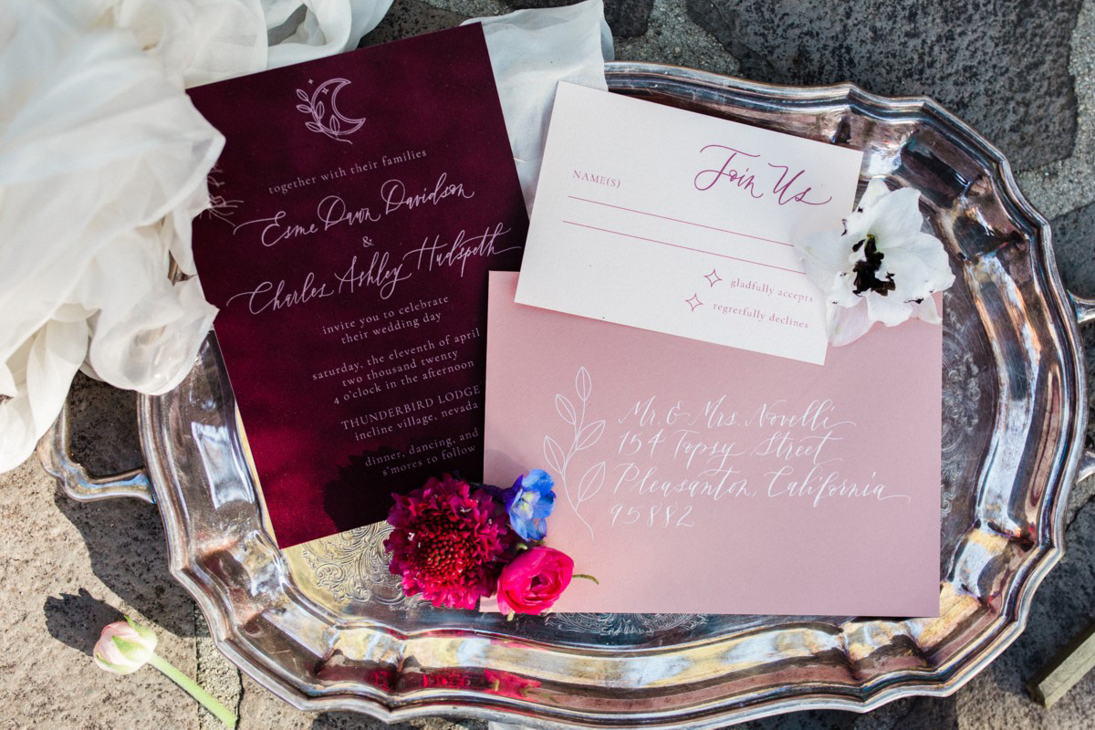 Thunderbird Lake Tahoe wedding styled shoot - invitation ensemble