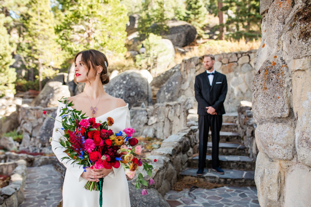 Thunderbird Lake Tahoe wedding styled shoot - first look