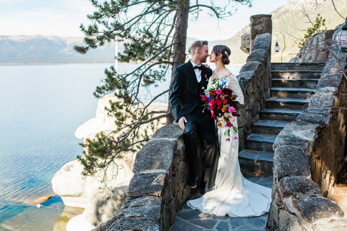 Thunderbird Lake Tahoe wedding styled shoot - couple on stairway