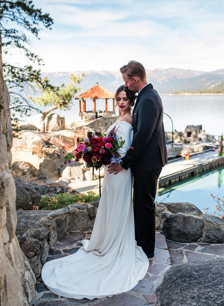 Thunderbird Lake Tahoe wedding styled shoot - couple with lake in background