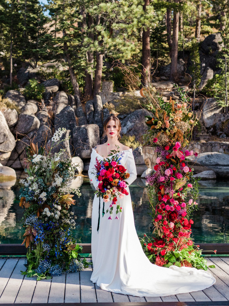 Thunderbird Lake Tahoe wedding styled shoot - bride by ceremony flowers