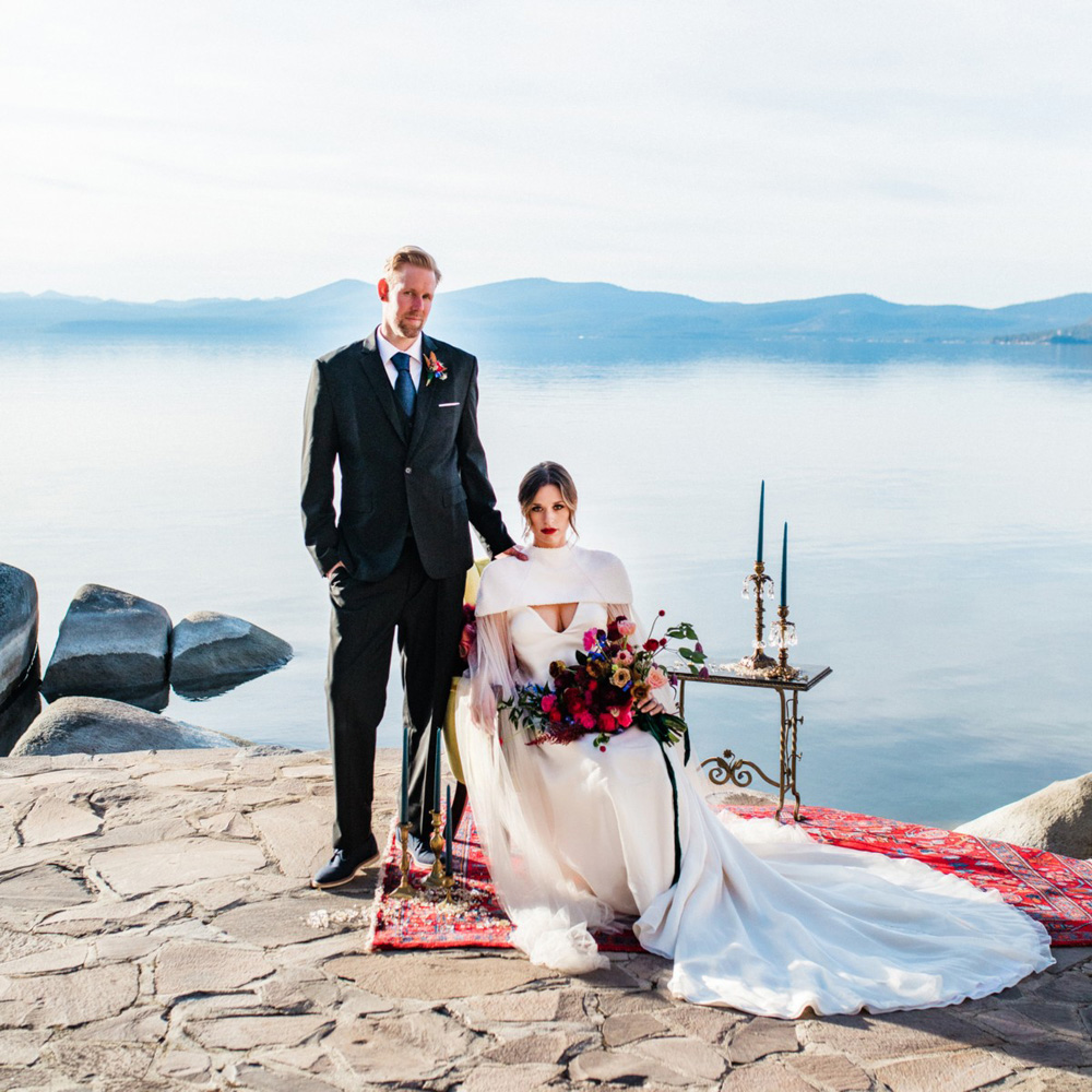 Thunderbird Lake Tahoe wedding styled shoot - bride seated groom standing
