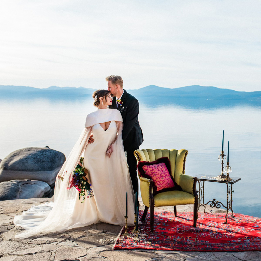 Thunderbird Lake Tahoe wedding styled shoot - couple near furniture by lake