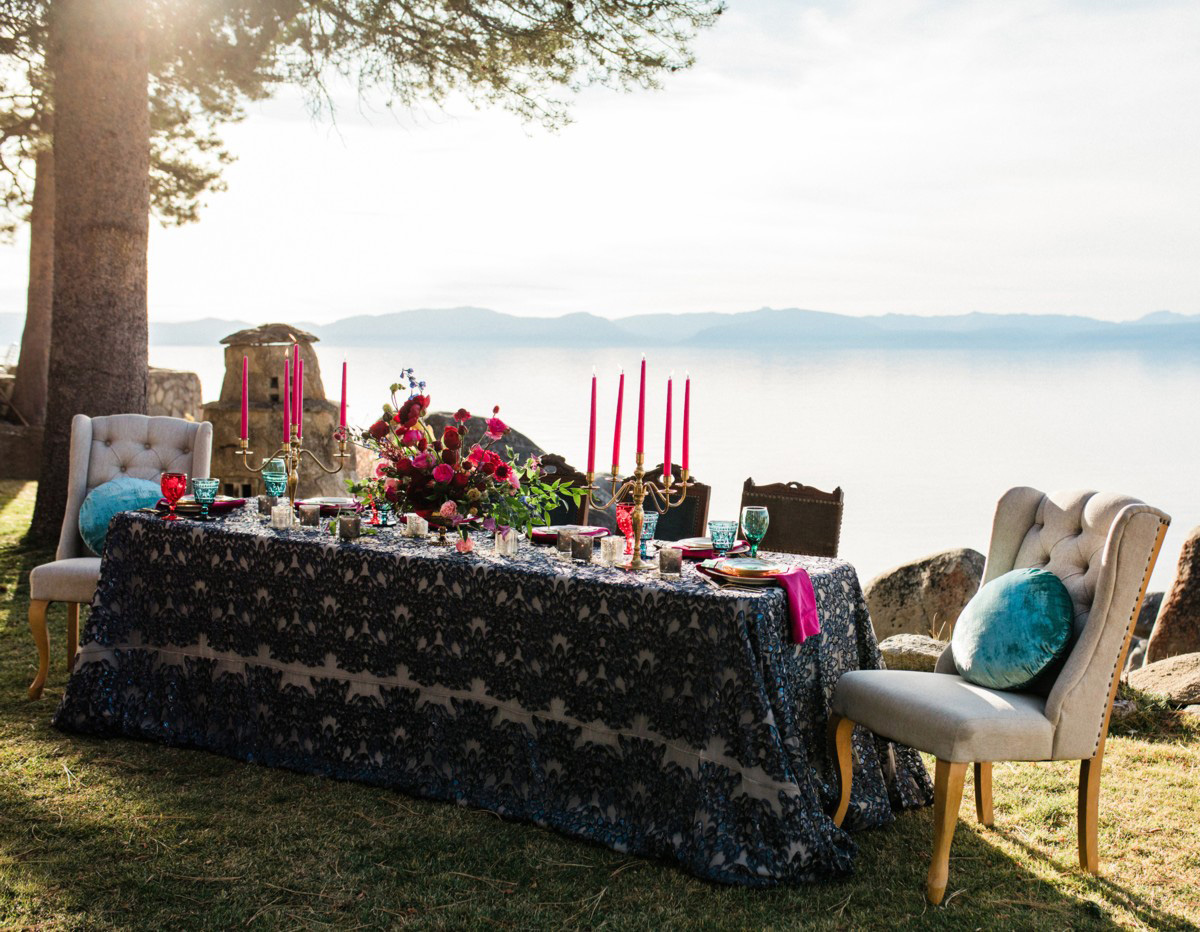 Thunderbird Lake Tahoe wedding styled shoot - dramatic and bold table