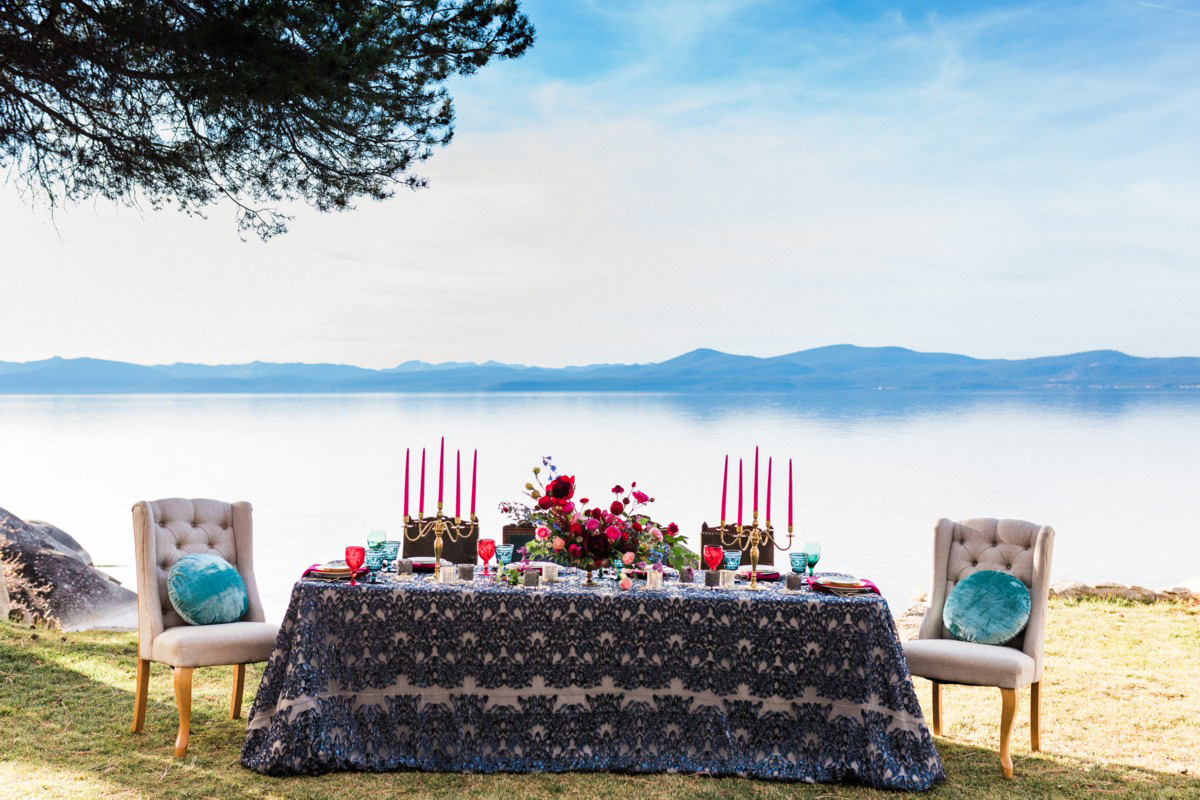 Thunderbird Lake Tahoe wedding styled shoot - table with lake behind