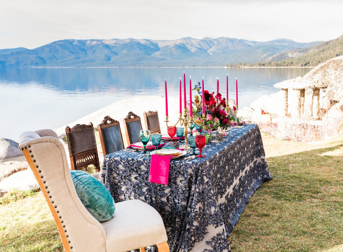 Thunderbird Lake Tahoe wedding styled shoot - side view of table