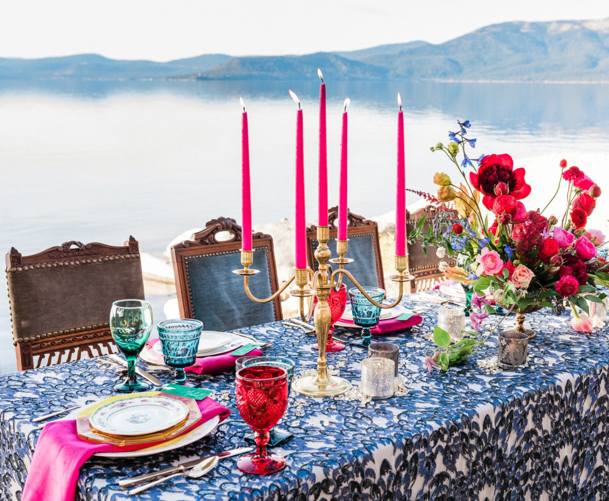 Thunderbird Lake Tahoe wedding styled shoot - closeup of table