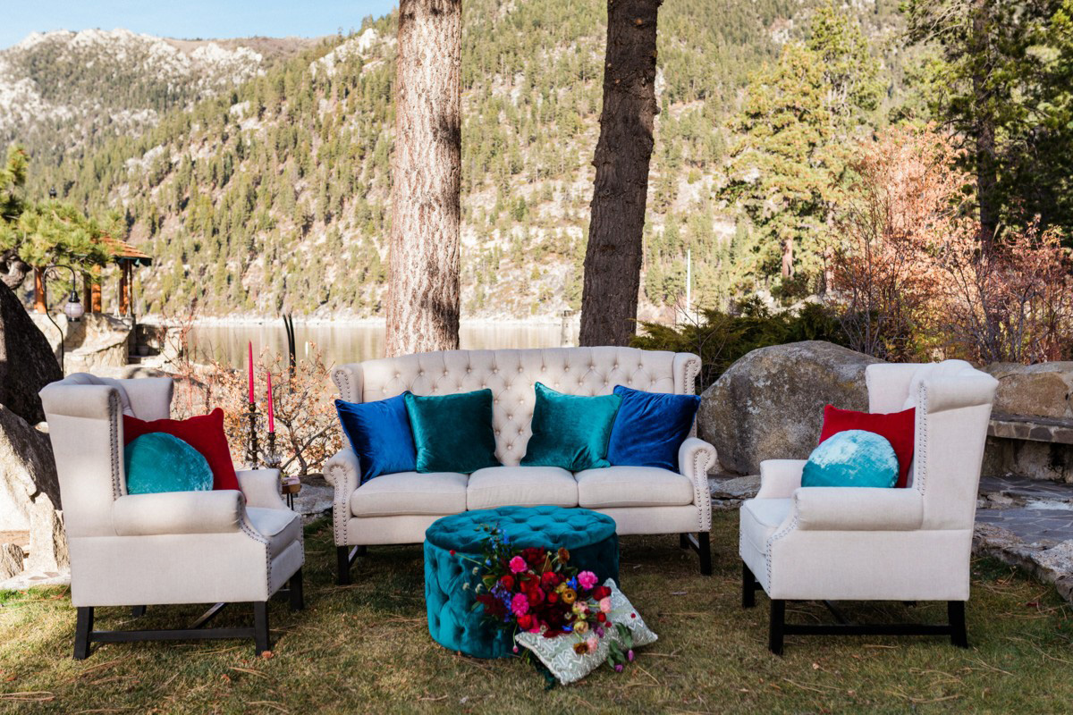 Thunderbird Lake Tahoe wedding styled shoot - dramatic and bold furniture vignette