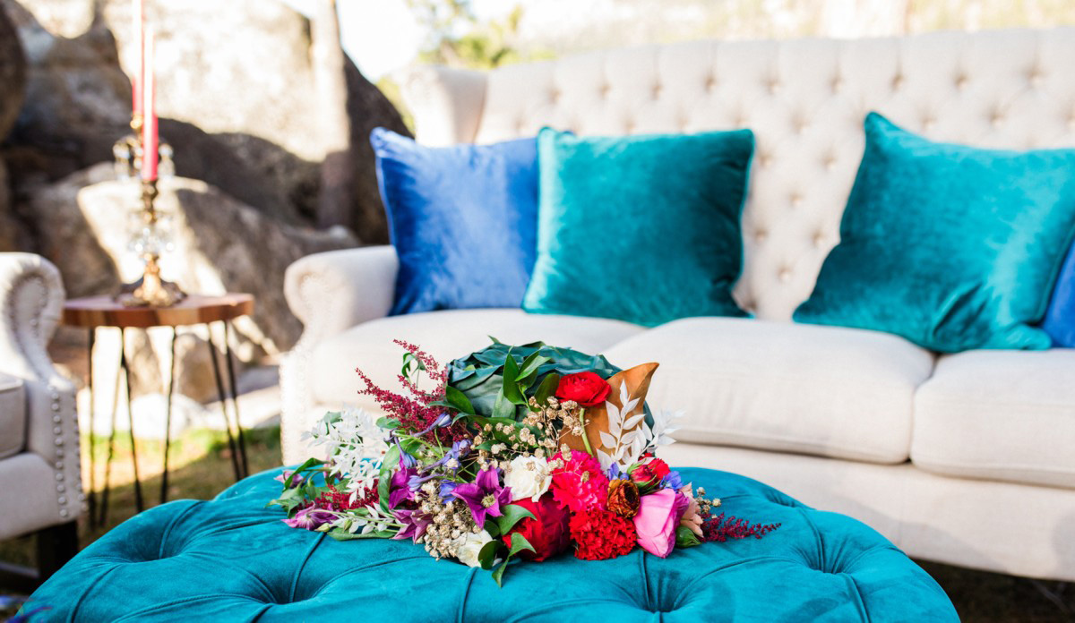 Thunderbird Lake Tahoe wedding styled shoot - furniture vignette closeup