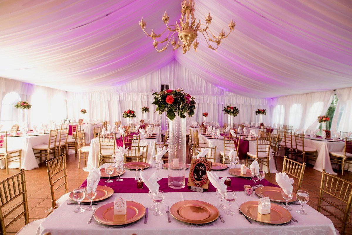 Inspirations by Gina - Lake Tahoe florist - reception tables in tent