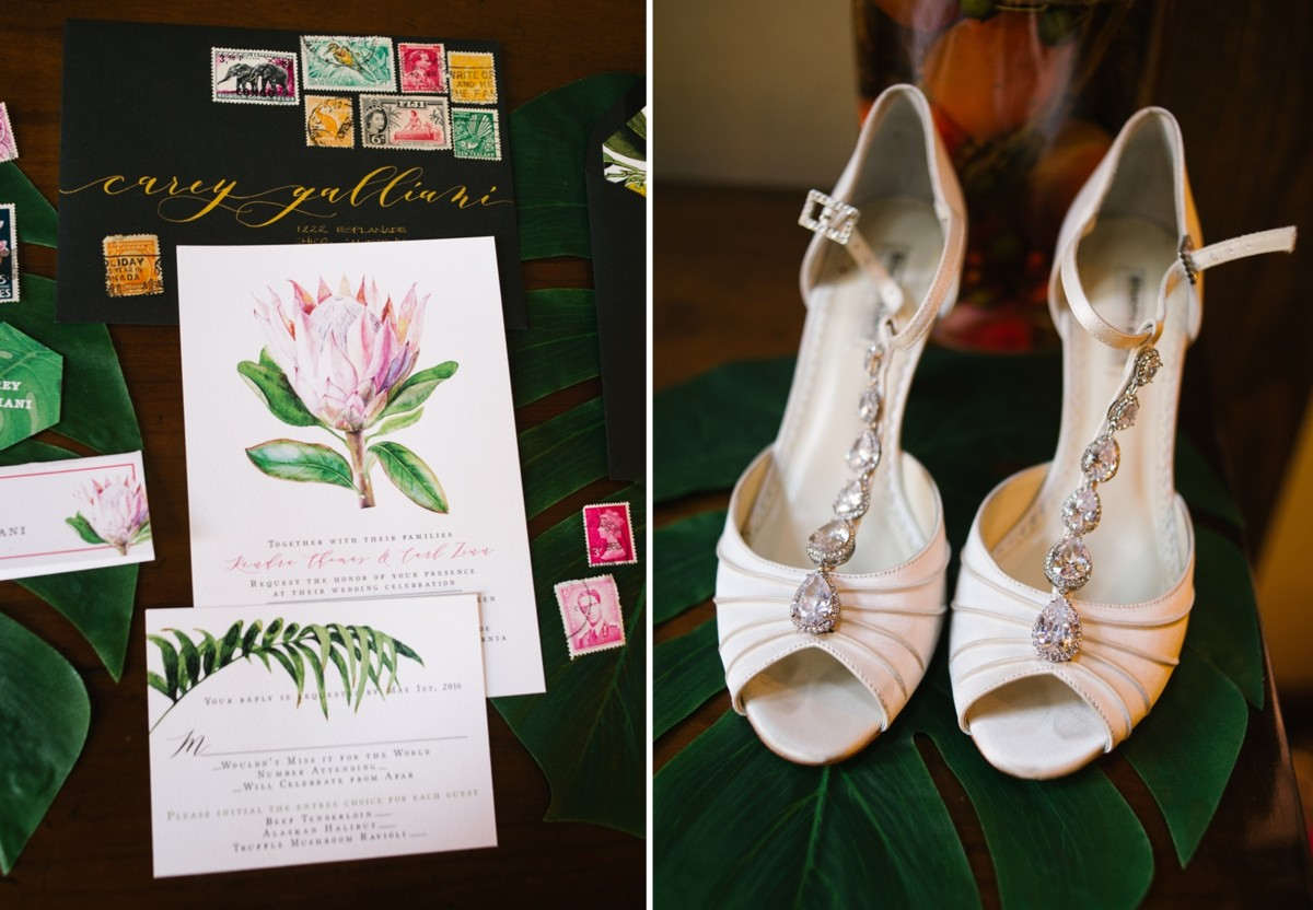 Lake Tahoe wedding Invitation and Shoes