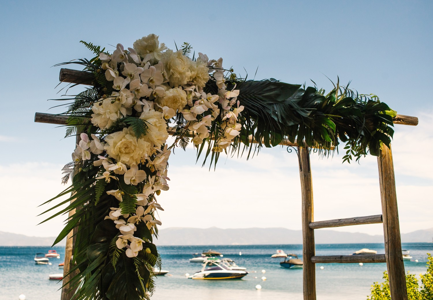 Lake Tahoe wedding A Tropical Ceremony Structure