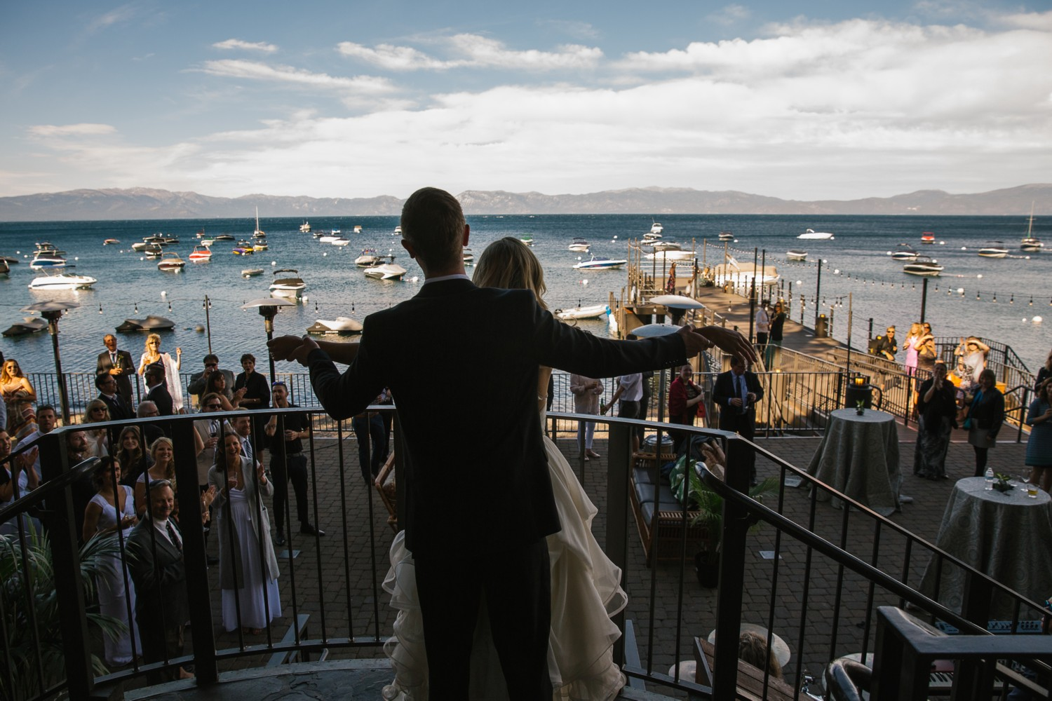 Lake Tahoe wedding Couple Arrives at Cocktail Hour