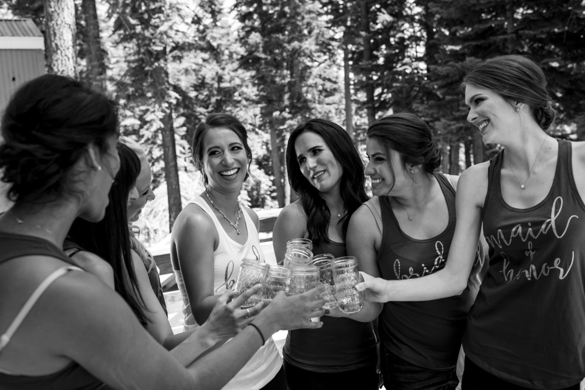 Lake Tahoe wedding at Gar Woods Bride with Bridesmaids