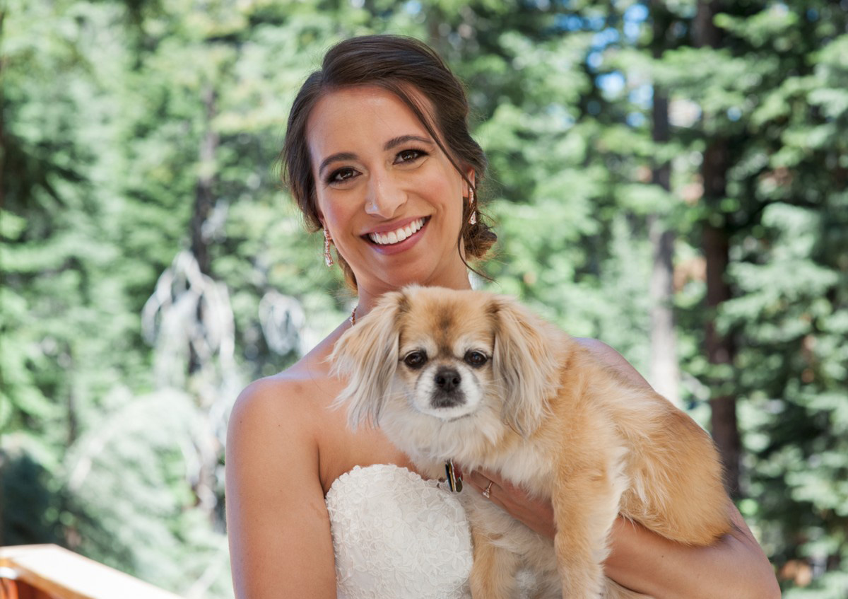 Lake Tahoe wedding at Gar Woods Bride with her dog