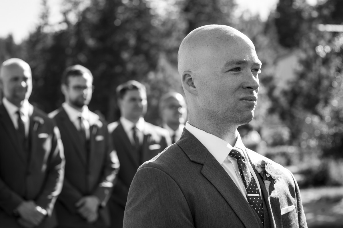 Lake Tahoe wedding at Gar Woods Groom Waits for Bride