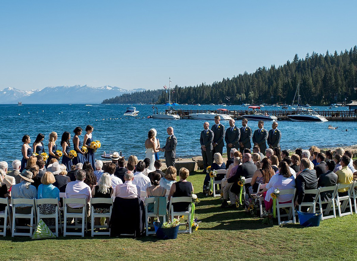 Lake Tahoe wedding at Gar Woods Ceremony by the shore of Lake Tahoe