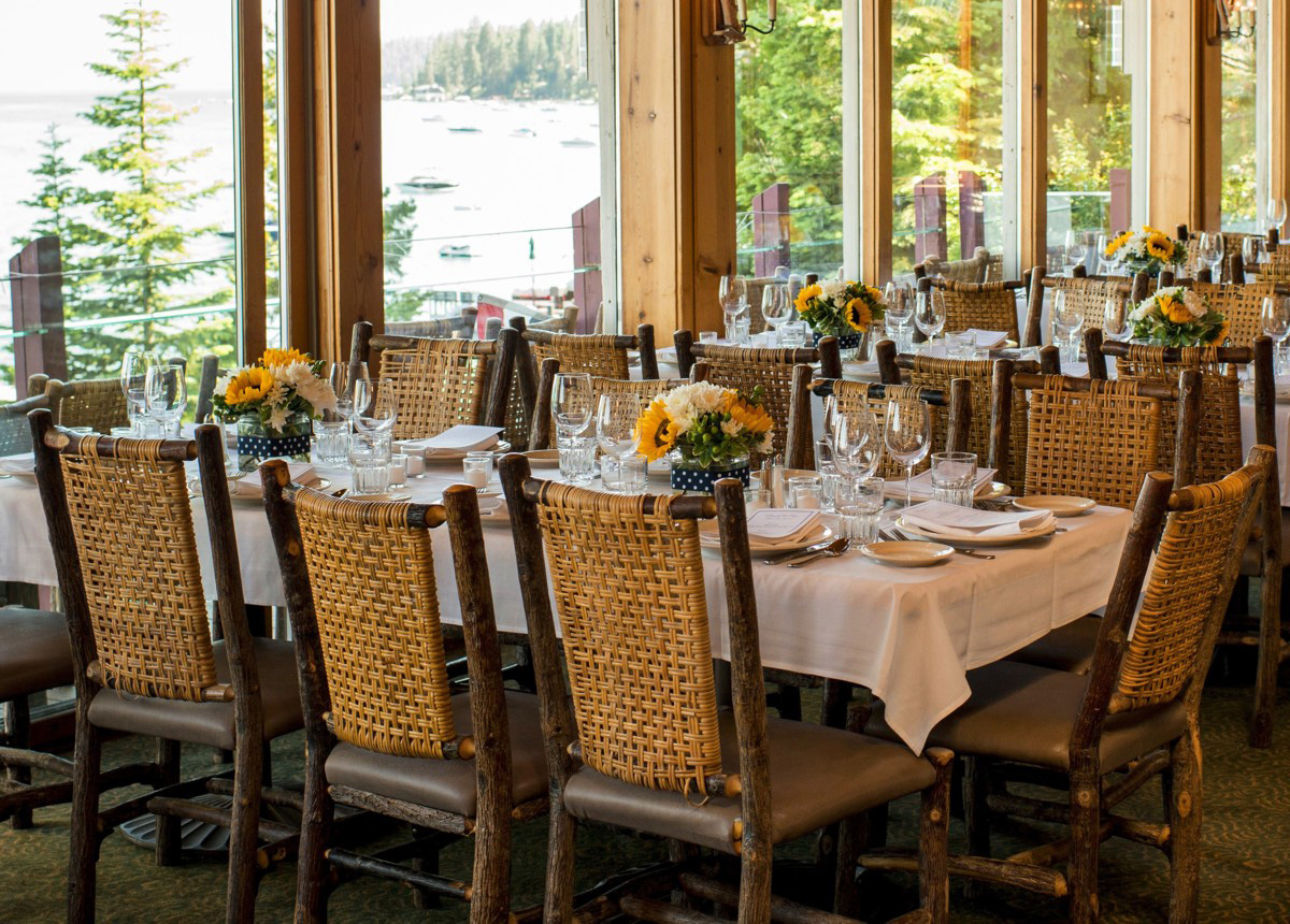 Lake Tahoe wedding at Gar Woods Dining Tables at Gar Woods Wedding