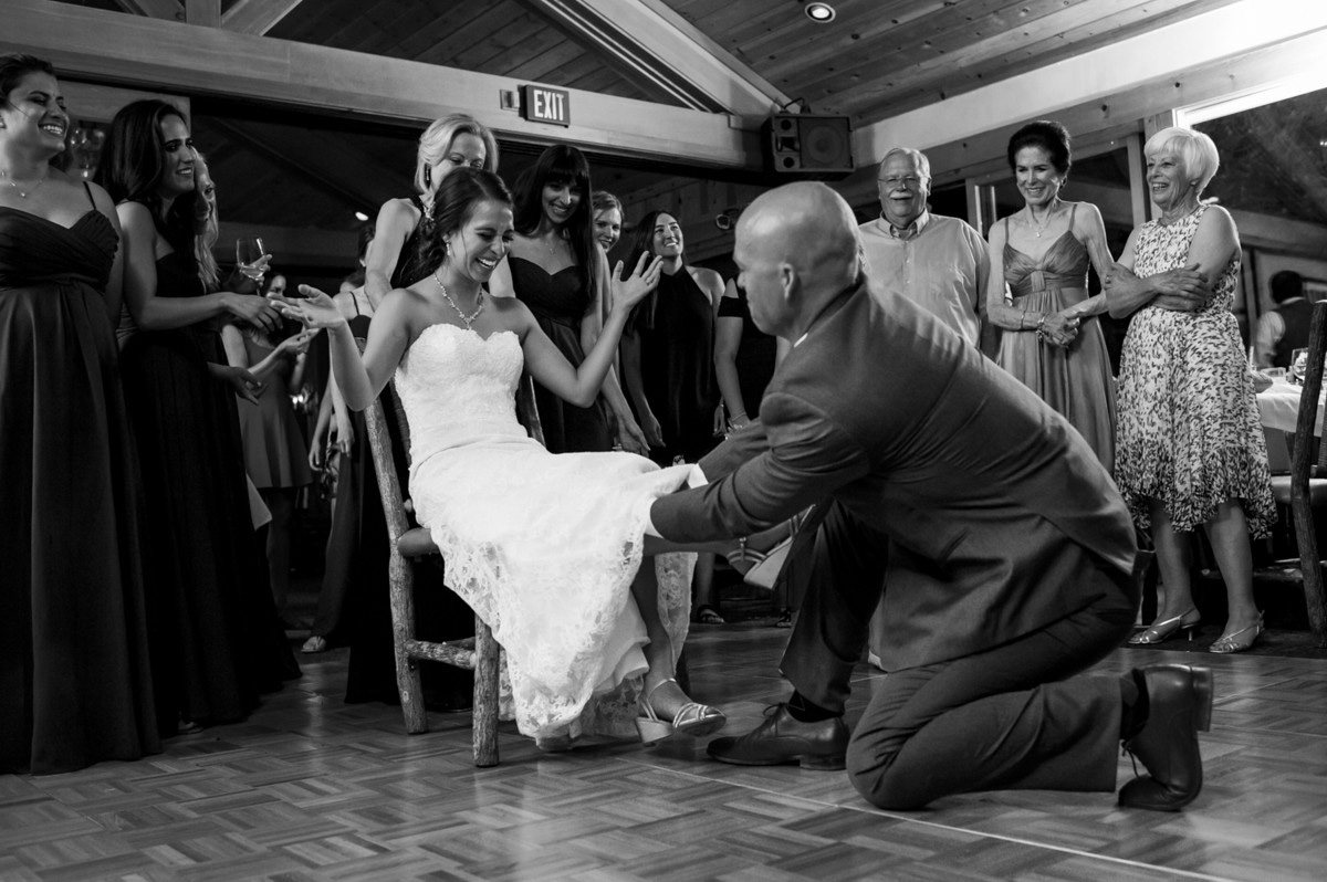 Lake Tahoe wedding at Gar Woods Removing the Garter