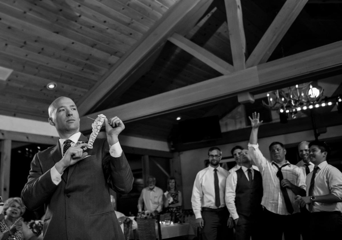Lake Tahoe wedding at Gar Woods Garter Toss