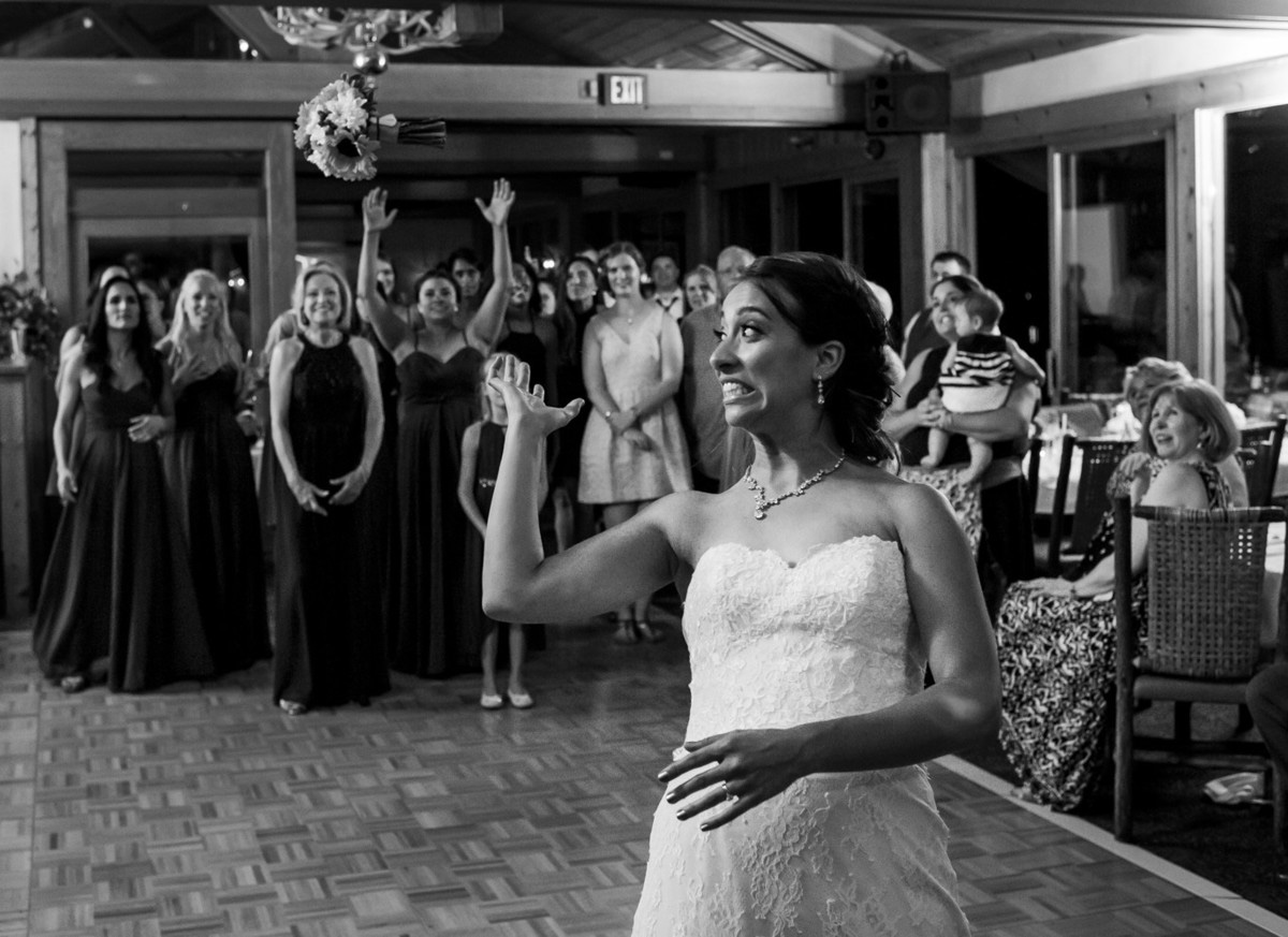 Lake Tahoe wedding at Gar Woods Bouquet Toss
