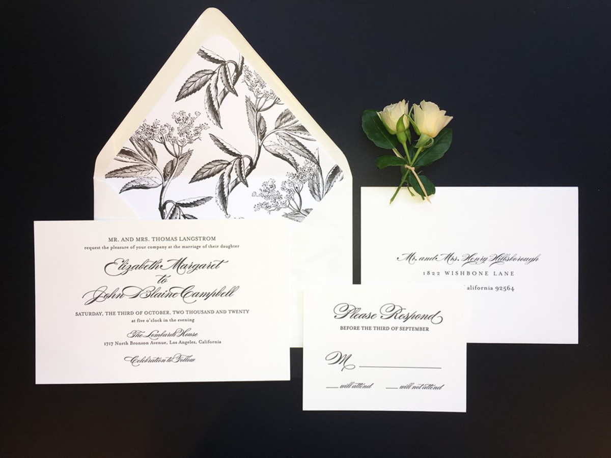 wedding invitation with reply card and envelope