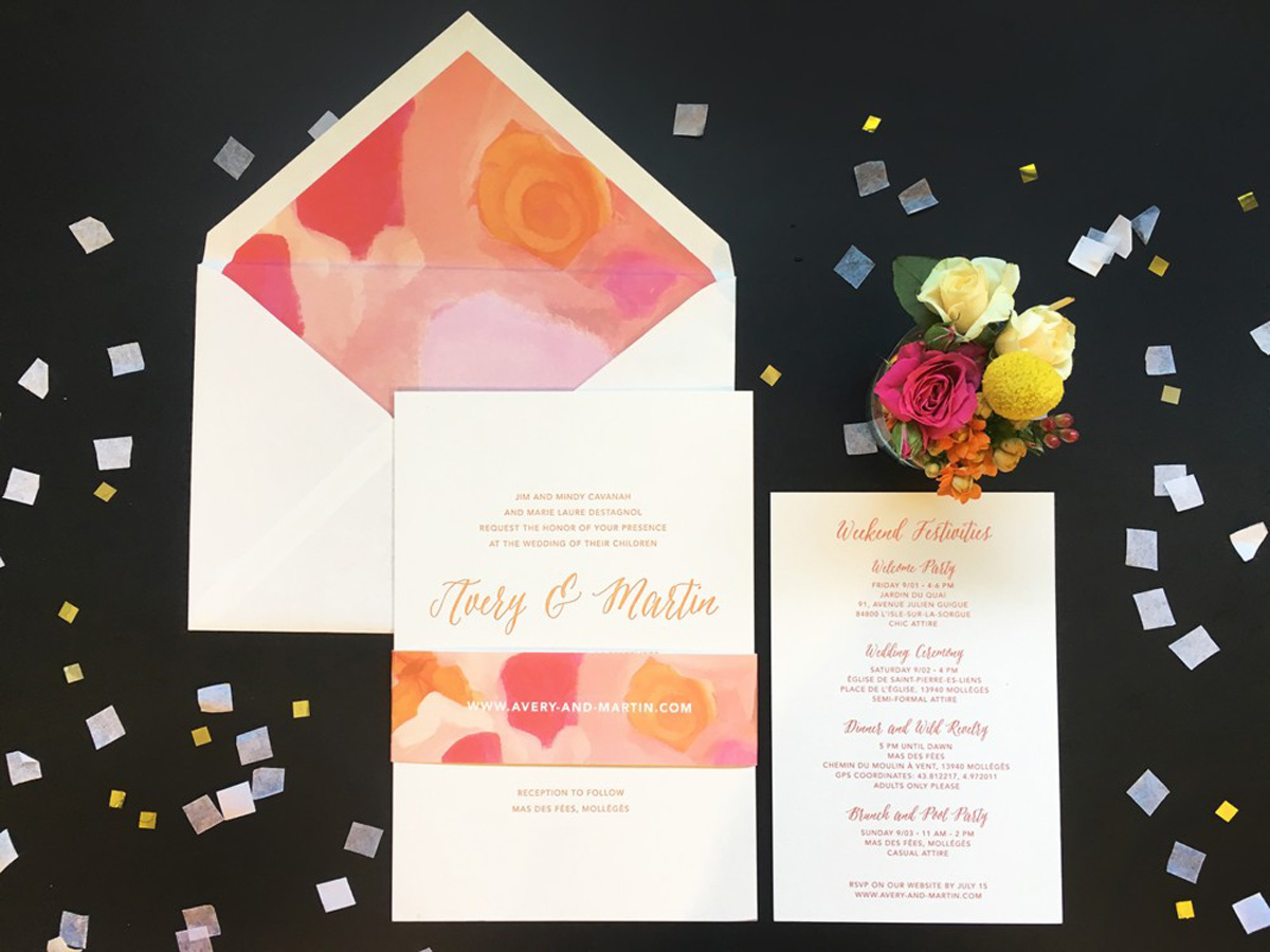 colorful wedding invitation with weekend activities card